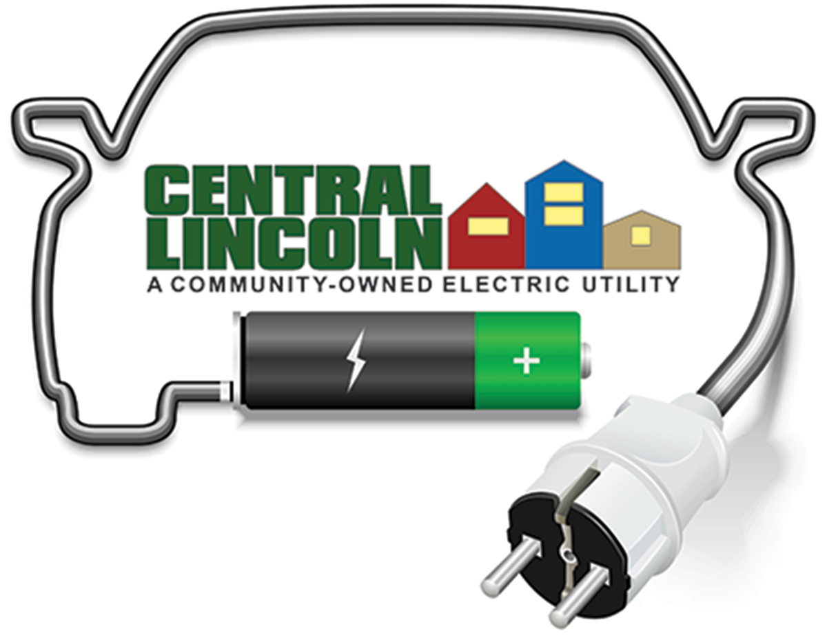 """Logo. """"Central Lincoln. A Community Owned Electric Utility."""" Electric cord around the logo in shape of a car, connected to a battery"""