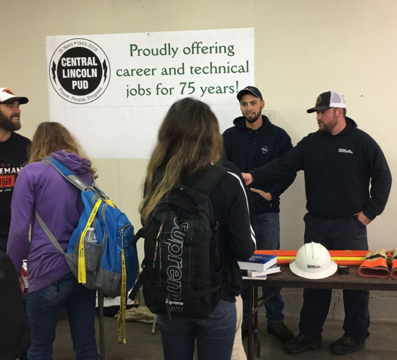 "2018 GEAR UP College & Career Fair. Post in background reads: ""proudly offering career and technical jobs for 75 years!"""