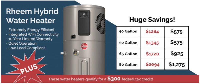 image of heat pump water heater and prices
