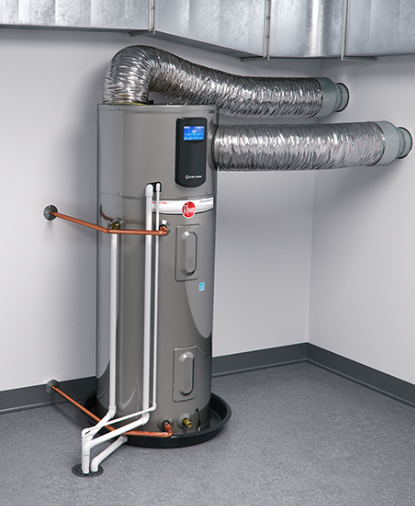 image of a Rheem heat pump or hybrid hot water heater installed in a home