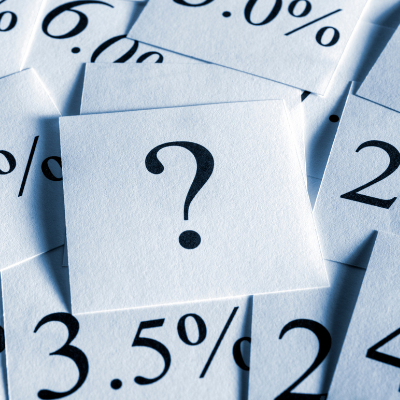 image of paper with a question mark on it surrounded by other percentage amounts