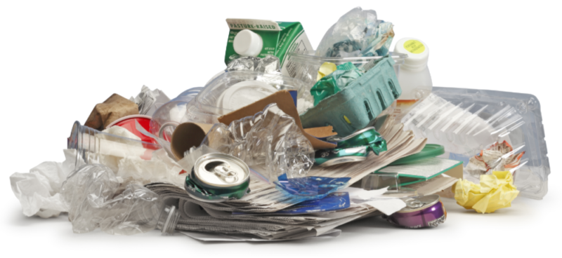 a pile of recyclable waste