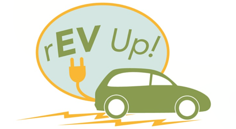 rEV UP logo featuring an electric vehicle and a plug