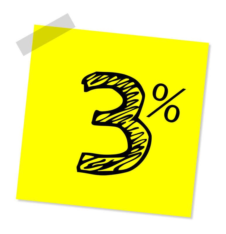 the number three and a percent sign on a yellow background to indicate a three percent rate increase
